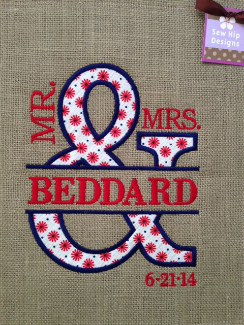Personalized Mr And Mrs Applique Burlap Garden Flag