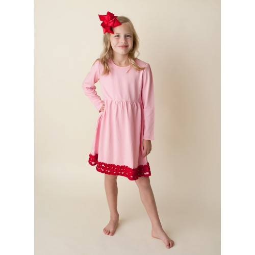 89454c56d PREORDER - Valentines Day Holiday Outfit Monogrammed or Appliqued Girl's  Pink Red Ruffle Long Sleeve Empire Waist Dress Birthday Special Occasion