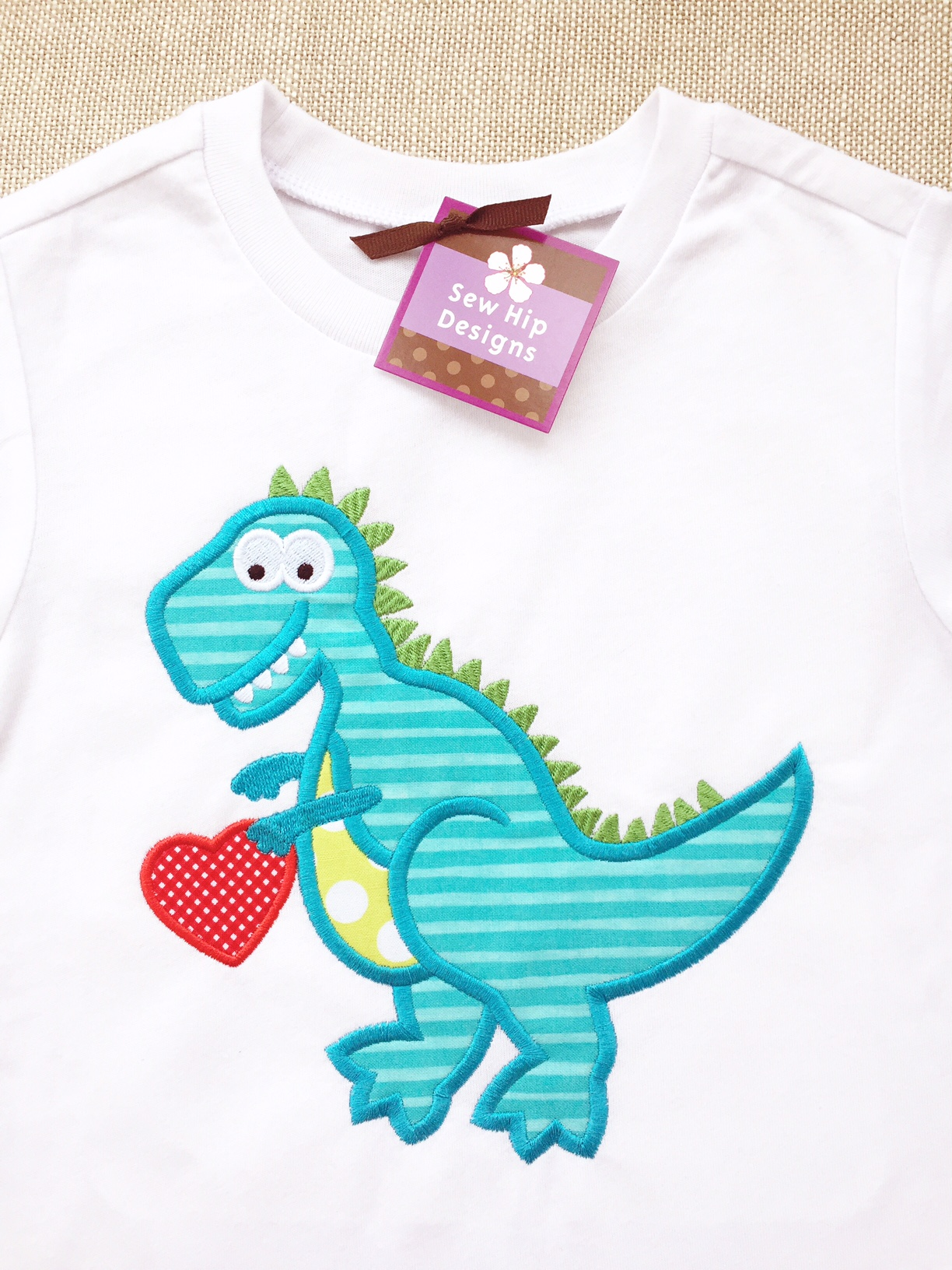 Personalized Applique Valentine Dinosaur T Rex With Heart