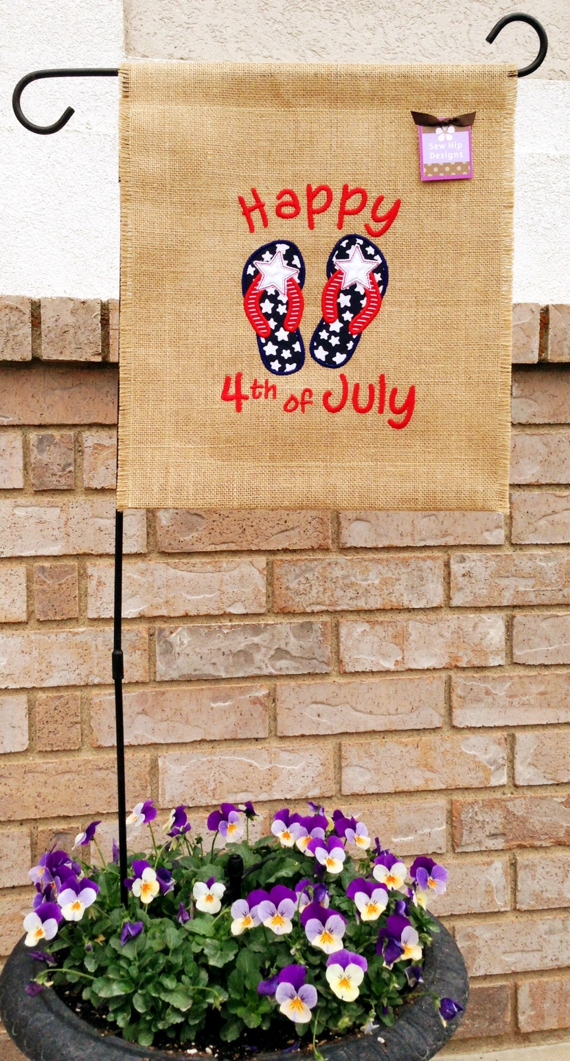 4th of july garden flags quot happy 4th of july quot patriotic flip flops applique burlap 7362